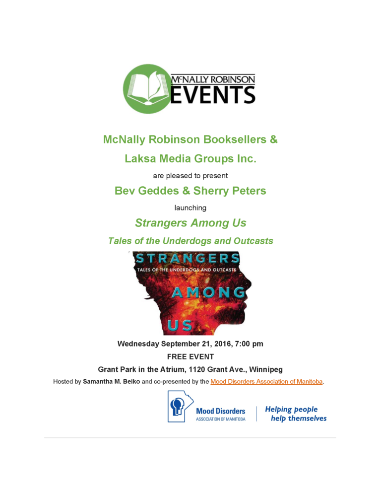 Winnipeg Book Launch Poster: Strangers Among Us at McNally Robinson Booksellers
